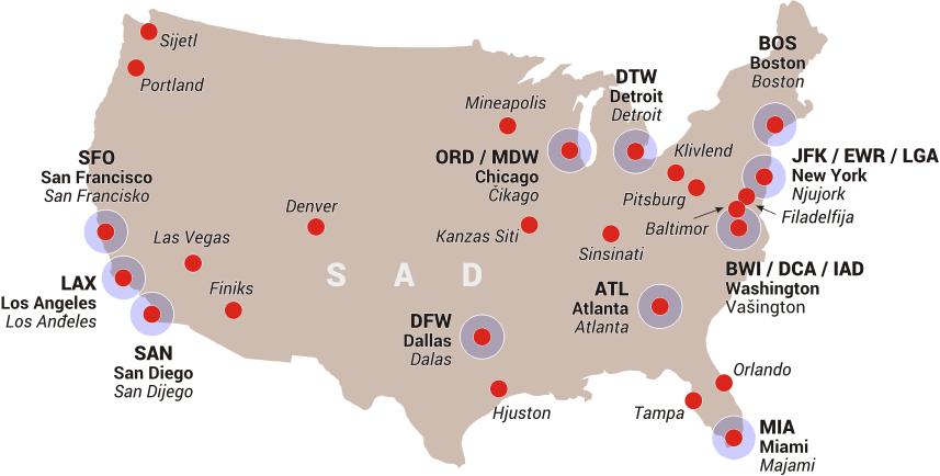 Amerika Gradovi Karta.Severna Amerika Sad Aviokarta Net